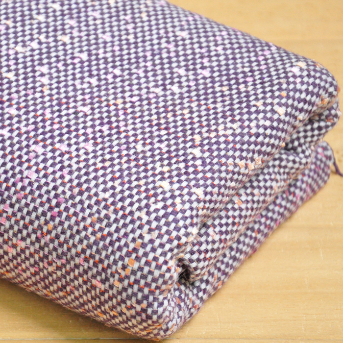 free ship wool tweed fabric warm color purple and pink weaved for choice price for 1/2 yard 63