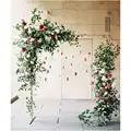 De Metal de hierro forjado arco soporte + Artificial de seda de la flor flores tela blanca set de decoración fiesta boda telón de fondo Floral fila 1 set