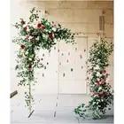 Metal Wrought Iron Arch Stand +Artificial Silk Flower Arrangement white cloth Set Decor Party Wedding Backdrop Floral Row 1 set