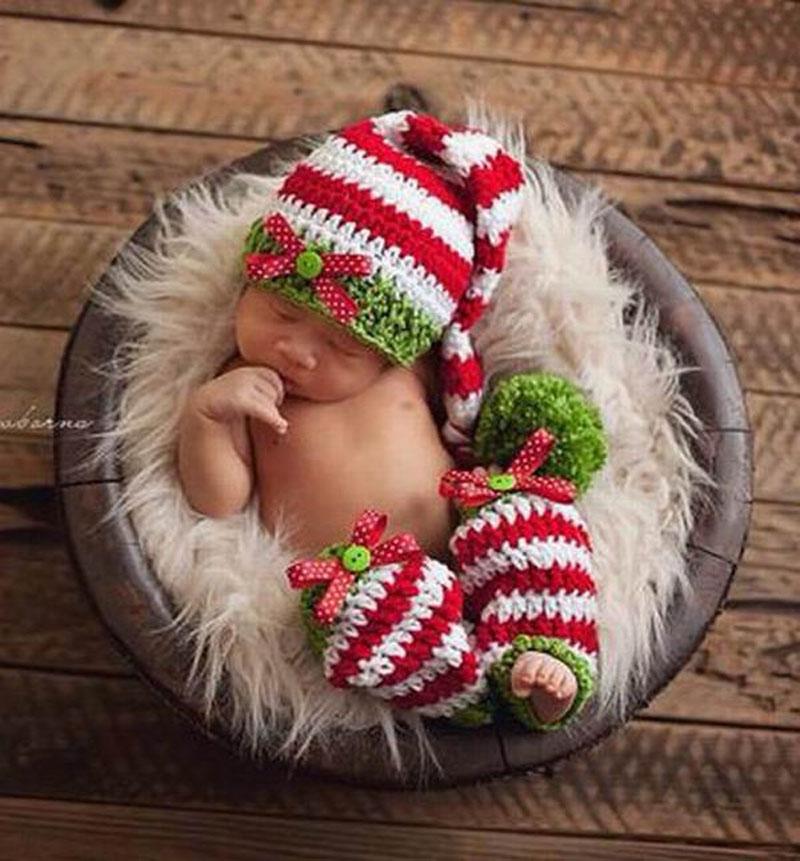 regalos navidad trajes hechos a mano gorros beb de punto del ganchillo elf sombreros y calentador