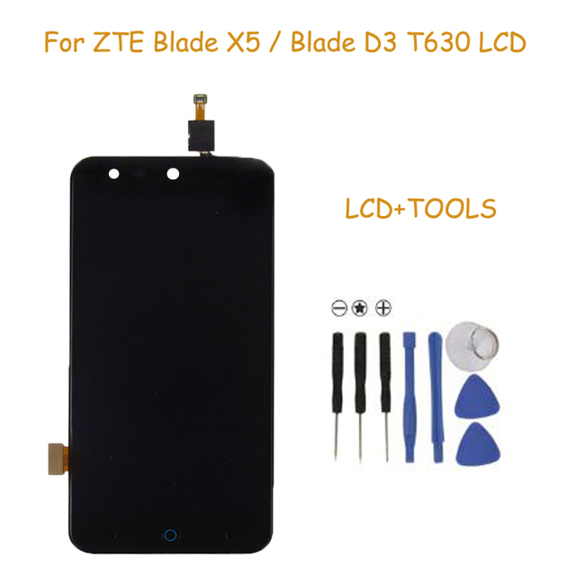 100% detection Black Full LCD DIsplay + Touch Screen Digitizer Assembly For ZTE Blade X5 / Blade D3 T630 Free shipping