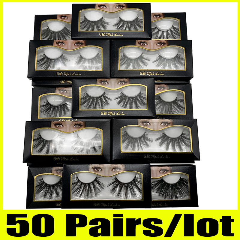 50 Pairs 25mm Lashes Wholesale 25 Mm False Eyelashes Thick Strip 25mm 3D Mink Lashes Makeup Dramatic Long Mink Lashes 6d-22