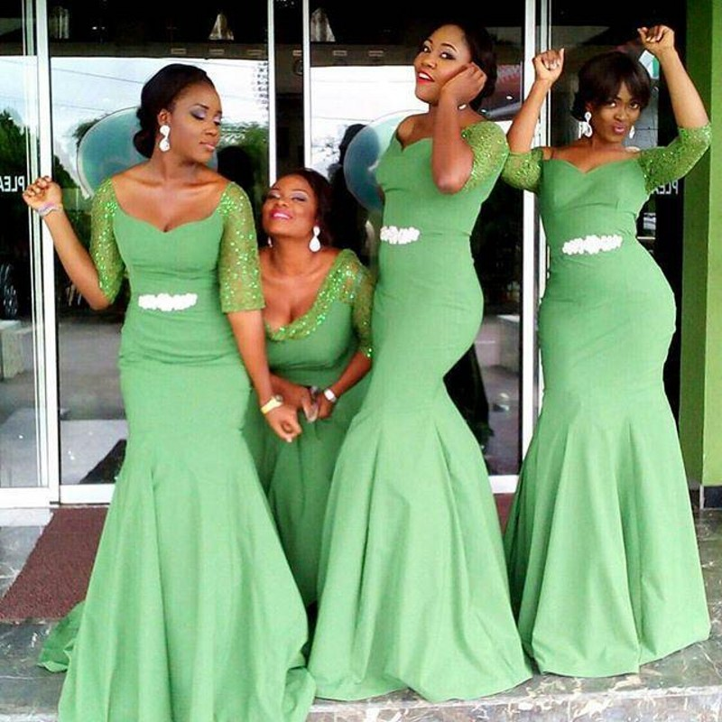 Green Crystal Half Sleeves Mermaid Bridesmaid Gowns Peach/Ivory/Champagne/Silver/Coral/Burgundy Satin Mermaid Bridesmaid Dresses