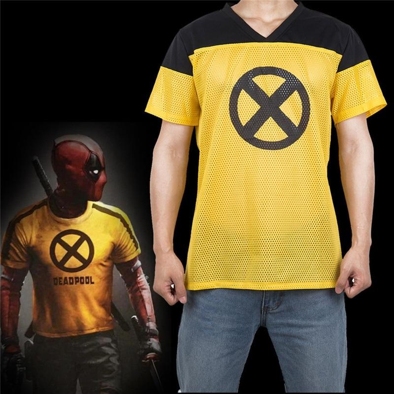 2018 Movie Deadpool 2 Yellow men T Shirt Superhero Short Sleeve Cosplay men's T-shirts causal Tee