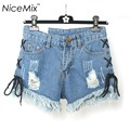 NiceMix 2017 Summer Tassel Denim Shorts Women Sexy High Waist Denim Jeans Ripped Short Casual Bandage Short Pantalon Femme
