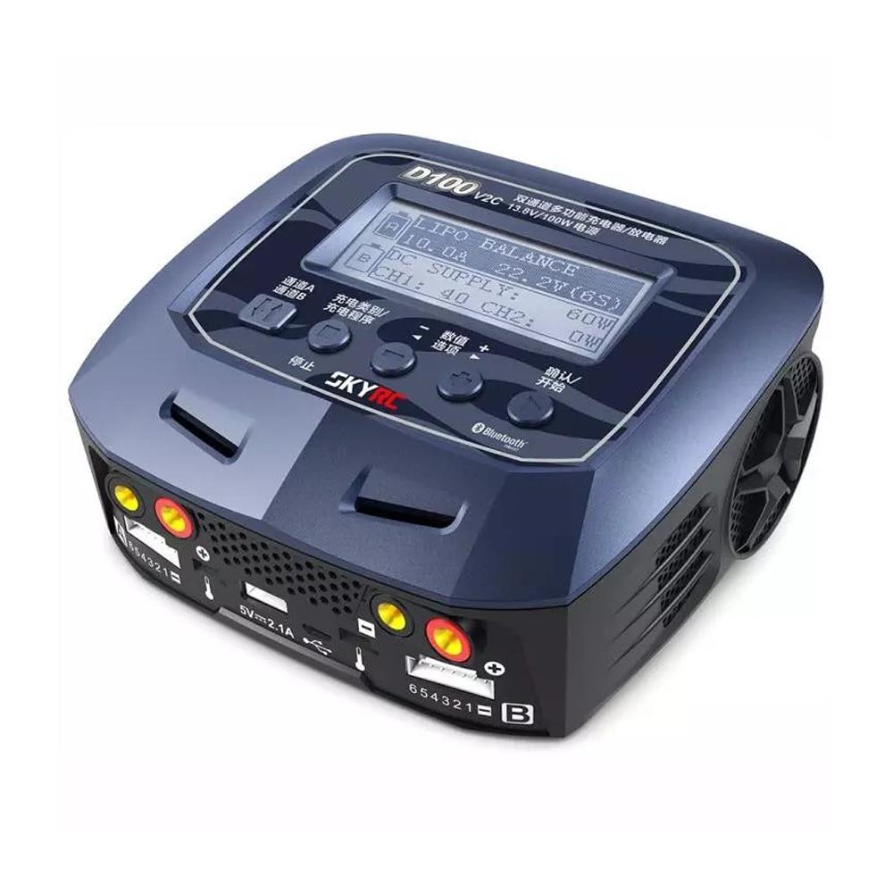 Skyrc D100 V2C Charger Twin-Channel AC/DC LiPo 1-6s 2x100W Dual Balance Charger Discharger Lipo LiFe Li-ion NiMh PB Battery