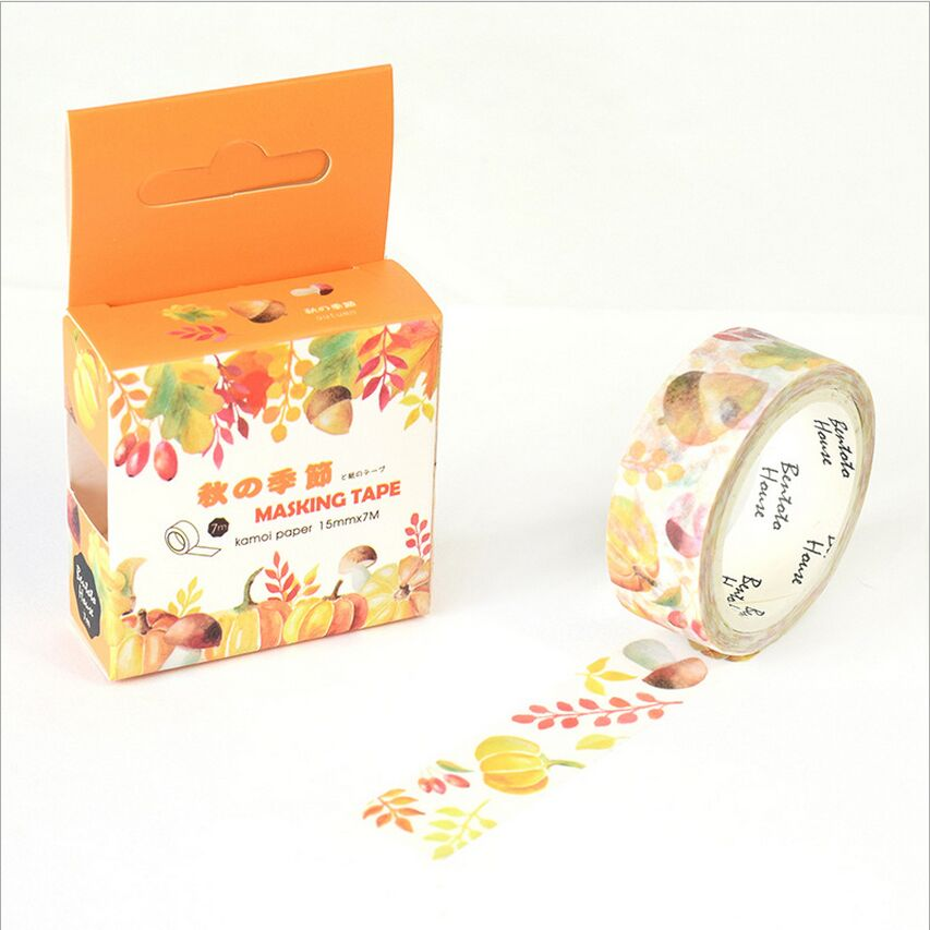 15mm Wide Golden Fall Fruits Swatch Washi Adhesive Tape DIY Decorative Diary Scrapbook Sticker Label Masking Tape