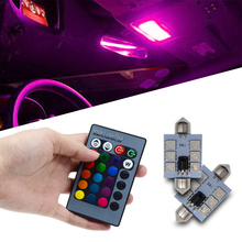 2pcs RGB 5050 6SMD 41mm Festoon Light c5w Dome Car Led Automobile Auto Remote Controlled Colorful Lamp Roof trunk Bulbs