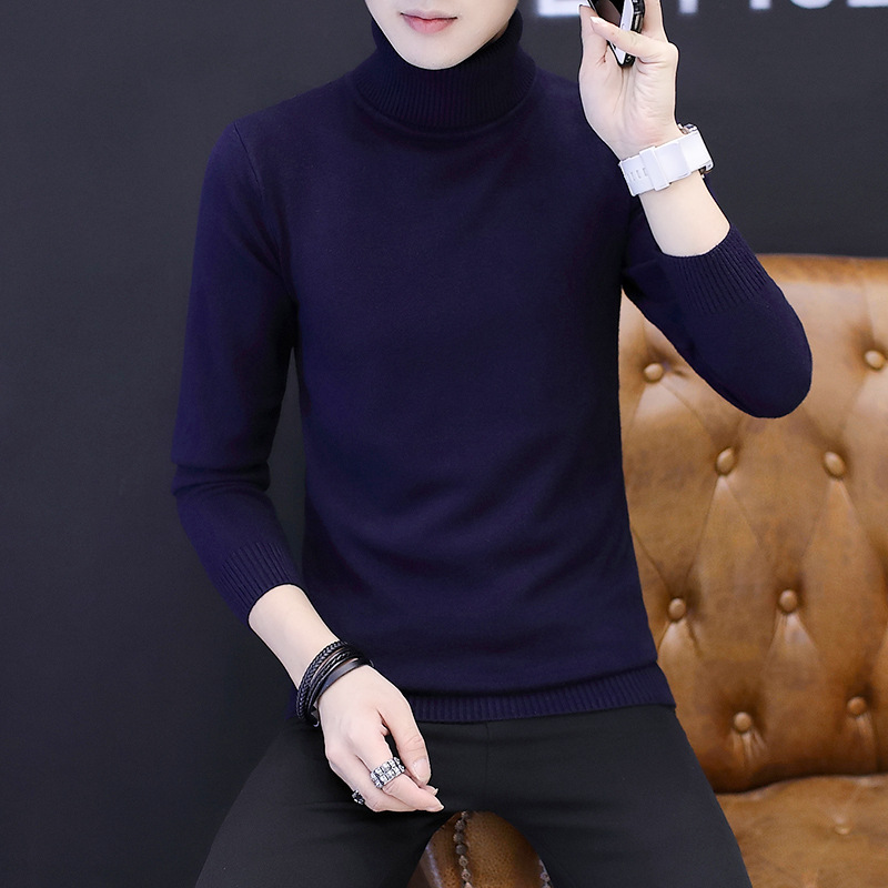 Image 4 - Winter High Neck Thick Warm Sweater Men Turtleneck Brand Mens Sweaters Slim Fit Pullover Men Knitwear Male Double collarPullovers   -