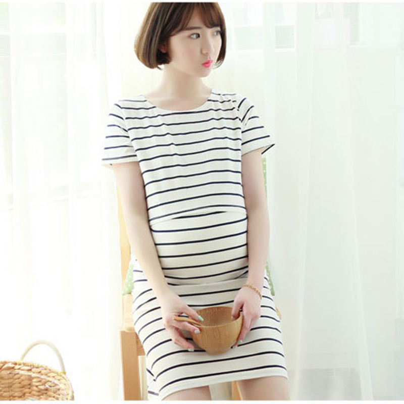 Autumn Striped Dress Maternity Nursing Dresses for Pregnant Women Mothers Breastfeeding Clothes Casual Female Pregnancy Clothing