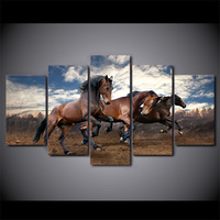5 Piece HD Printed Galloping Wild Black Horse Framed Wall Picture Art Poster Painting On Canvas For Living Room Quadri Da Parete