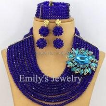 African Beads Jewelry Set Royal Blue Nigerian Wedding African Beads Jewelry Set 10 Row Crystal Beads Jewelry Set 2016 New AJS322