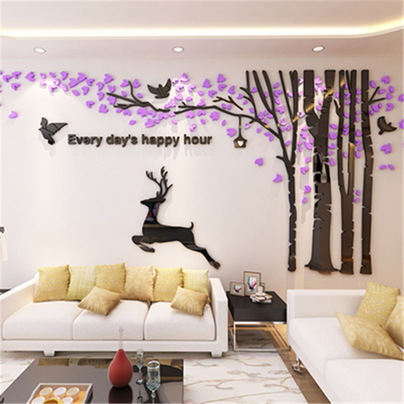 New Big 3D Acrylic Wall Stickers Tree Living Room Sofa TV Background Wall  Art Home Sticker Christmas Decoration Gift Forest Deer