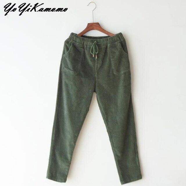 46155f1ce30 YoYiKamomo Women corduroy pants big size winter spring 2018 retro thick elastic  waist casual loose harem