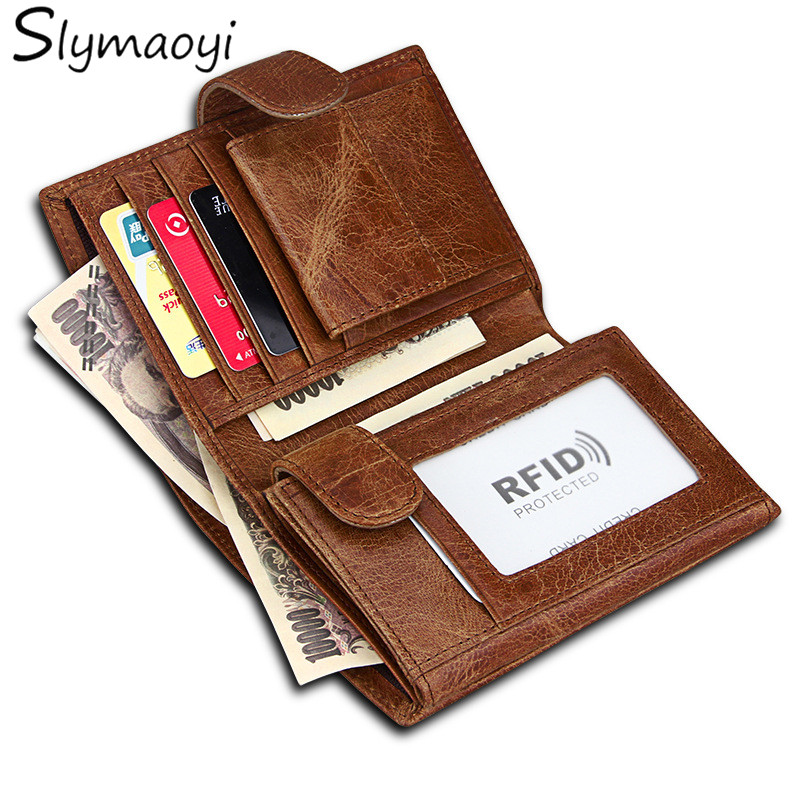 Slymaoyi Brand Men Wallets Vintage Crazy Horse Genuine Leather Wallet Card Holder Coin Pocket Men's Purse Male Carteira slymaoyi 2017 genuine crazy horse leather men wallet short coin purse small vintage wallets brand high quality designer carteira