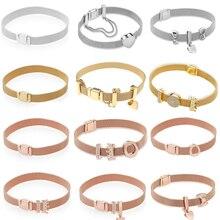2018 Real 925 Sterling Silver Gold Rose Original Reflexions Pandora  Bracelet Gift Set For Women Bead 28906f444bf