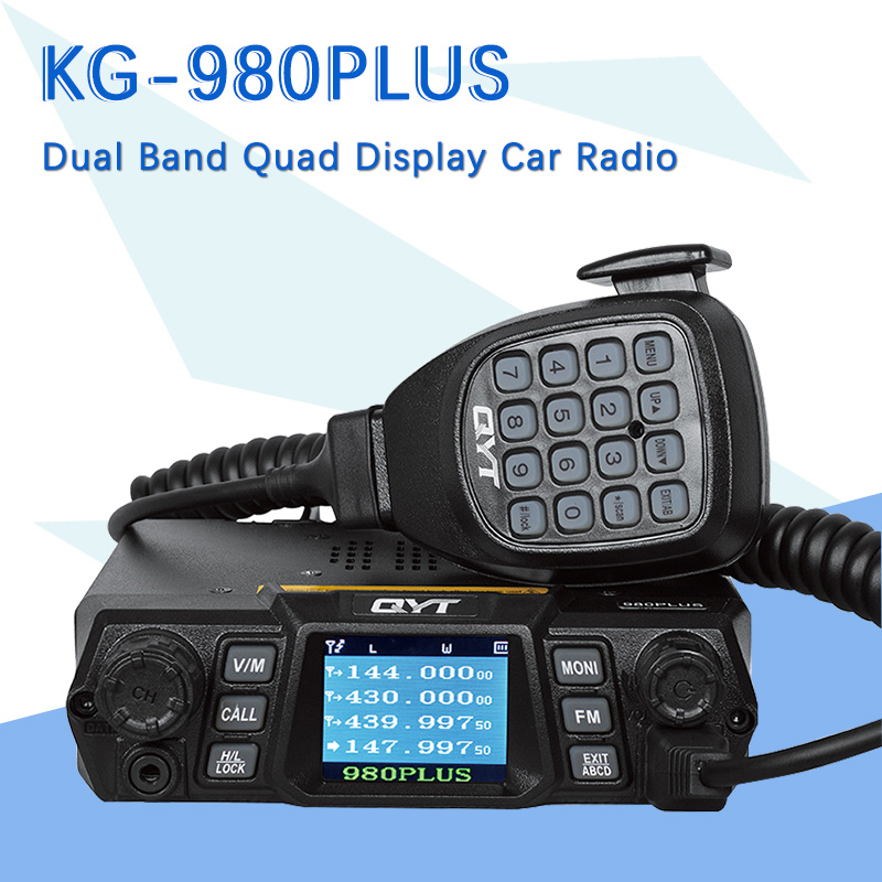 Brand New QYT KT 980Plus Dual Band Quad Display Walkie Talkie For Car Two Way Radio Station With Display Screen Free Shipping