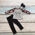 Outono/inverno boutique ain'tno mama roupas de algodão crianças usam florais impressão pant outfits bebê meninas acessórios combinando arco