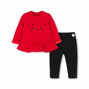 Image 5 - Balabala תינוקת 2 חתיכה מרופד פרווה תרמית 3D באני סווטשירט שמלה + למשוך על מכנסיים סט חורף תינוקות יילוד תינוק בגדים