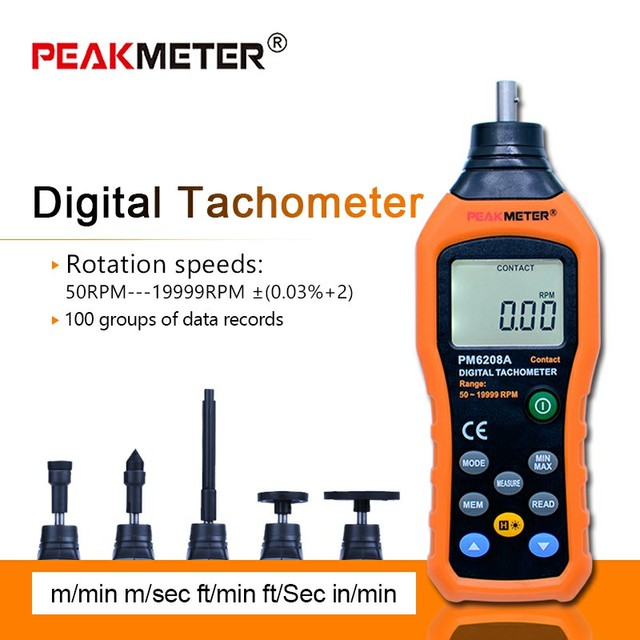 MS6208A Contact-type Digital Tachometer Meter High Performance revolution meter 50-10000RPM MAX