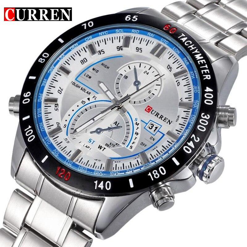 Brand Curren Dashboard Dail Men Stainless steel Quartz Wrist Watch fashion Casual Military Wristwatch Brand quality gift sale цена