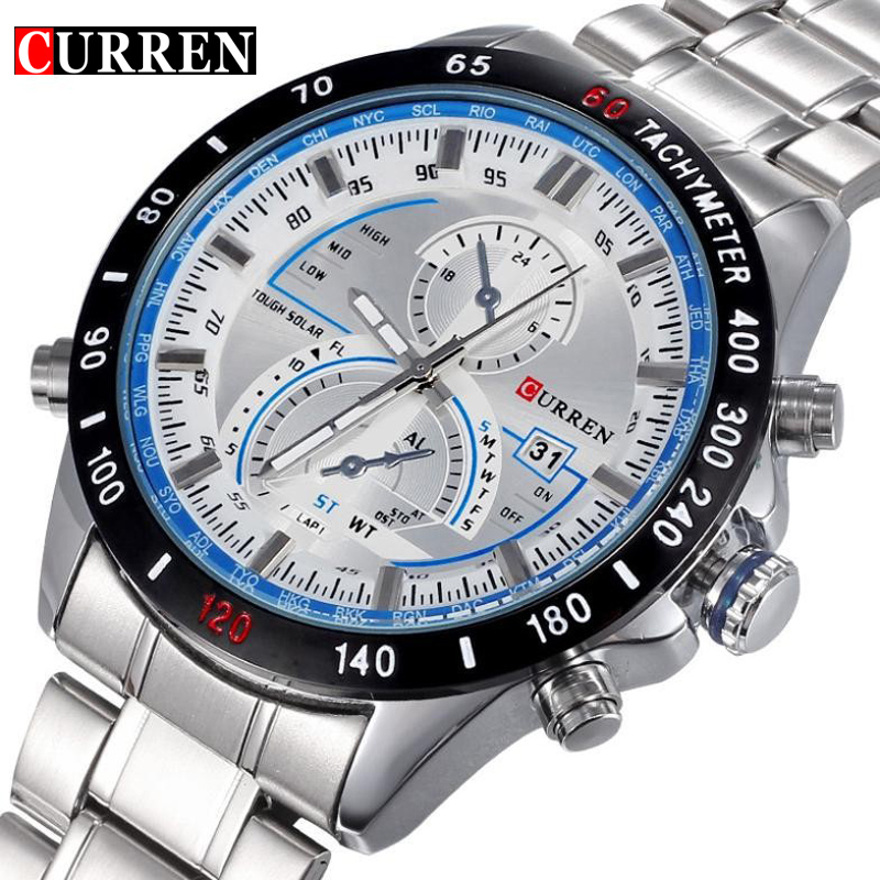 Brand Curren Dashboard Dail Men Stainless steel Quartz Wrist Watch fashion Casual Military Wristwatch Brand quality gift sale