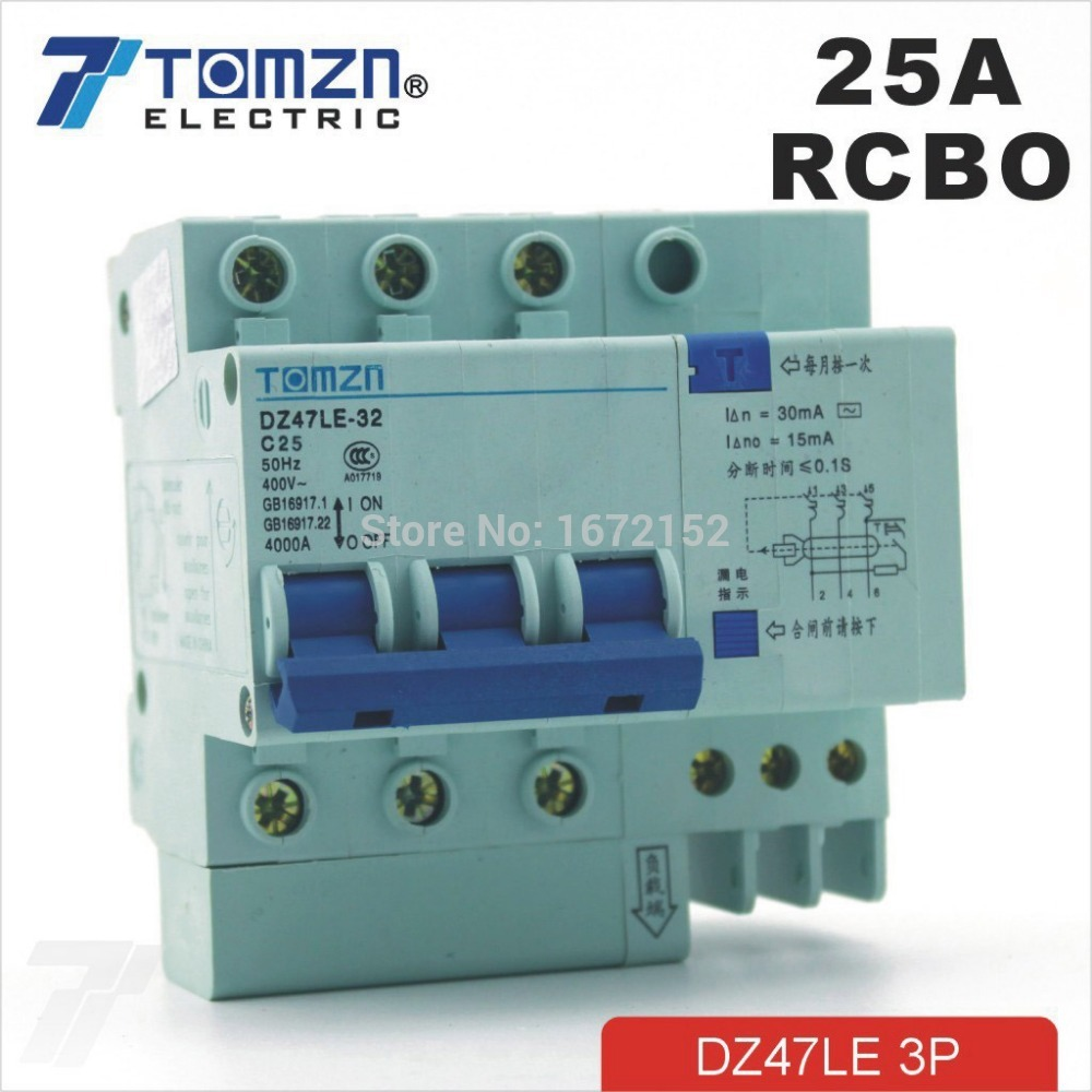 3P 25A DZ47LE-32 400V~ Residual current Circuit breaker with over-current and Leakage protection RCBO