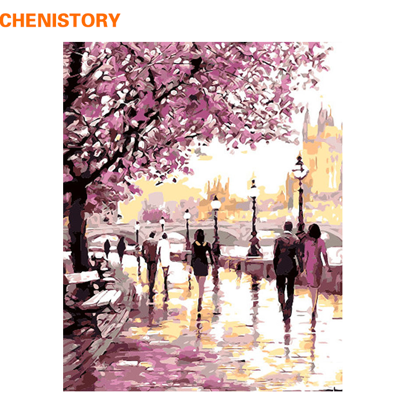 CHENISTORY Romantic Gardan Lover Landscape DIY Painting By Number Modern Wall Art Picture HandPainted Canvas Painting Home Decor