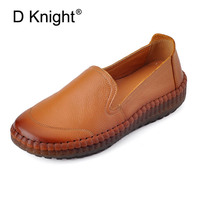 Genuine Leather Loafers Women Casual Shoes Handmade TPR Bottom Mother Slip On Flats Comfort Sewing Women