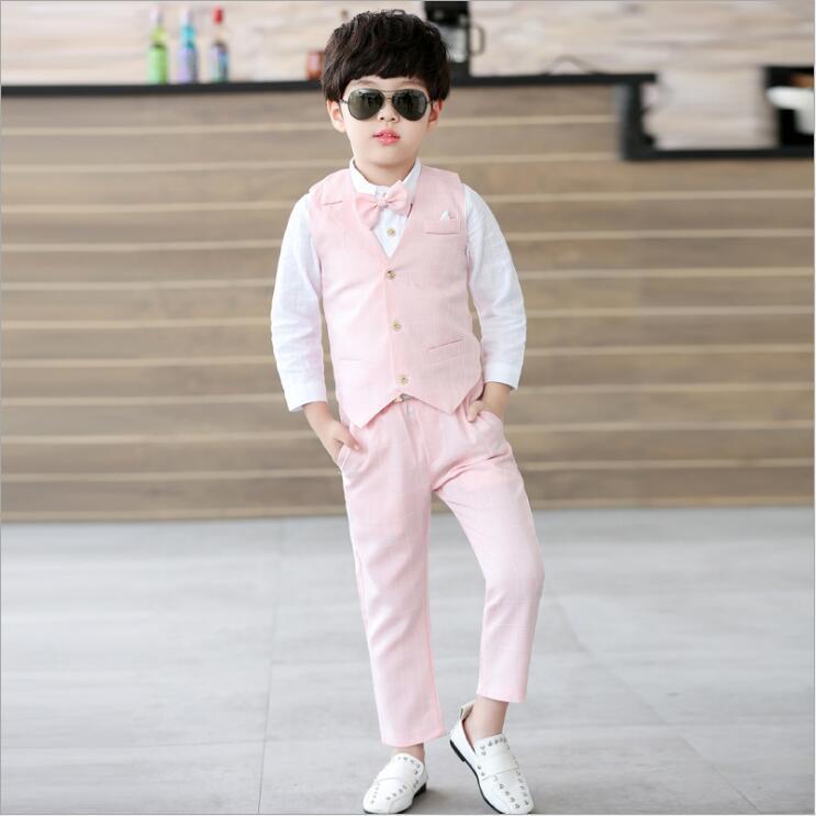 399d127b2 2018 traje para niños chaleco + camisa + pajarita + Pantalones 4 unids set  adolescente Moda Hombre Ropa Para Niños formal del muchacho Trajes en  Sistemas de ...