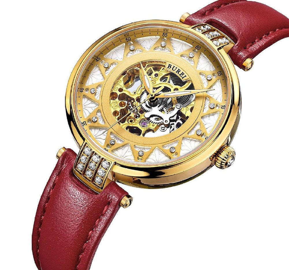 Luxury Gold Watch Women Skeleton Movement Rose Golden Dial Sapphire Lens Automatic Wristwatch For Lady With Leather Strap BUREI