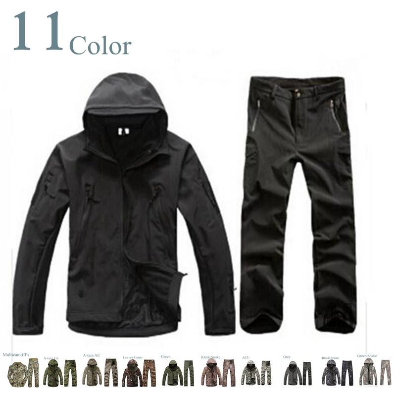 TAD 4.0 Shark Skin Soft Shell Lurkers Outdoors Tactical Gear Military Jacket+Pants Camouflage Hunting Uniform Suits shooter tad gear soft shell newest mandrake camouflage hunting jacket free shipping sku12050171