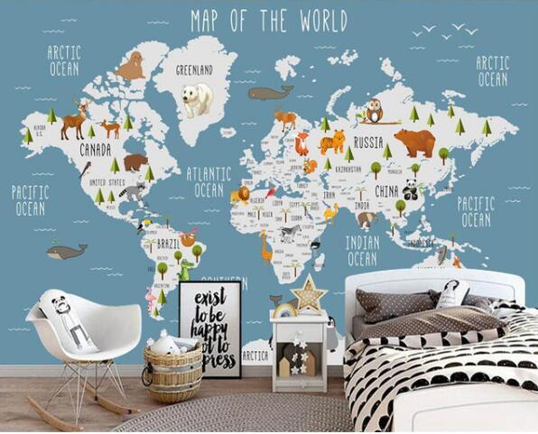 Personalizado papel de parede mapa do mundo dos desenhos animados tv fundo papel de parede sala de estar quarto fundo sala de crianças 3d papel de parede murais