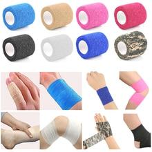 4 stks/partij Kleurrijke Zelfklevende Enkel Vinger Spieren Care Elastische Medische Bandage Gaas Dressing Tape Sport Polssteun
