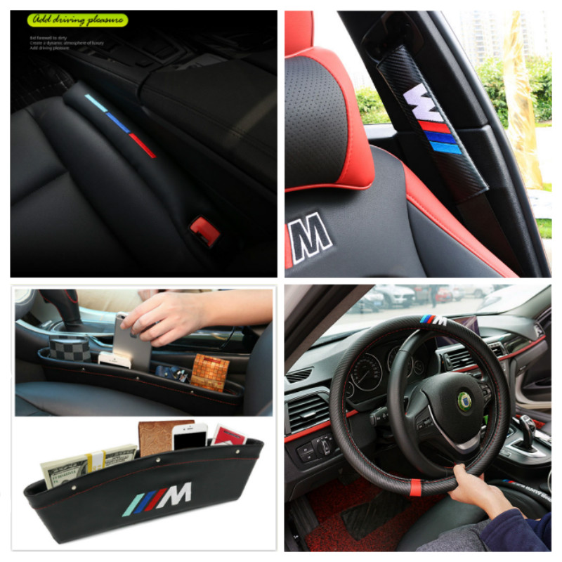 M logo Car Interoir Accessories For BMW 1 3 5 7 series E46 E39 E53 E36 F22 E87 E90 E91 E92 M3 E60 E61 M5 E65 X5 X3 Car styling custom leather car seat cover for bmw e81 e82 e87 e90 e91 e92 e93 e36 e38 e39 e46 z4 z3 e53 x5 x3 e6 car styling car accessories
