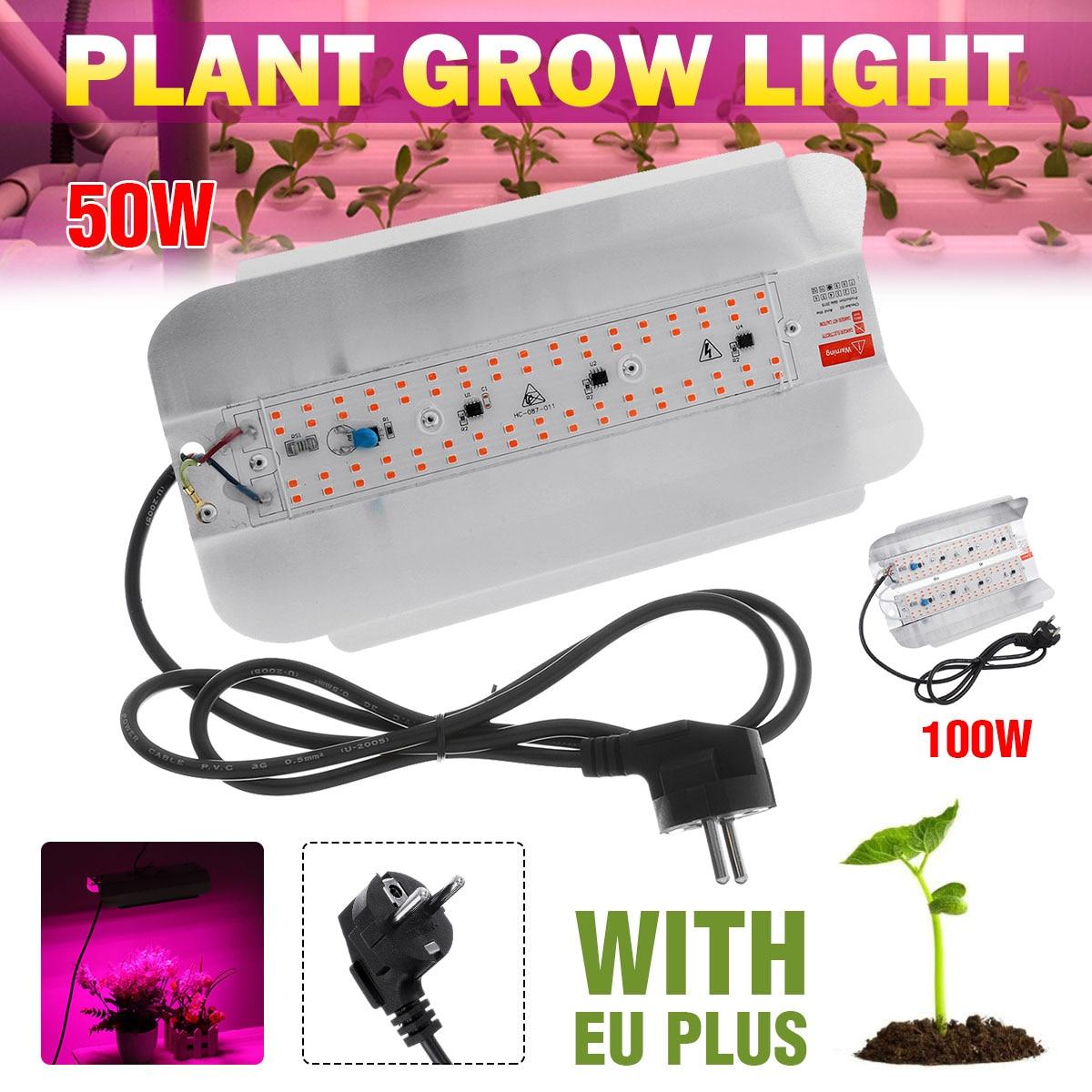 50W 100W LED Phyto Flood Lights With EU Plug  Full Spectrum High Power LED Grow Light Hydroponic Seeding 220V IP65 Waterproof