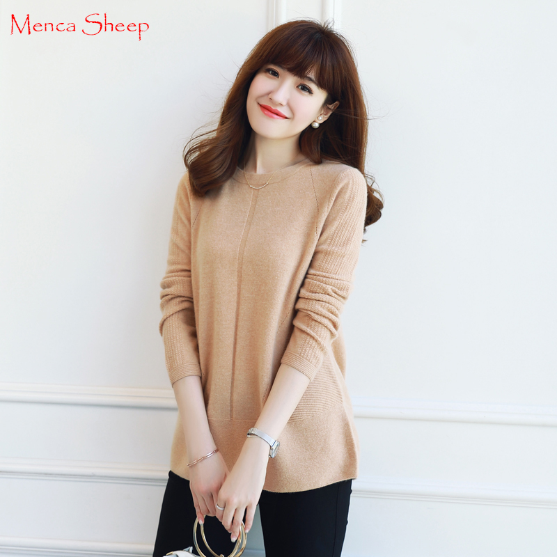 92442d91a8 Menca Sheep Brand New Winter Warm Sweaters Women 100% cashmere Pullovers  Girls A Word Neck Fashion Knitwear ...