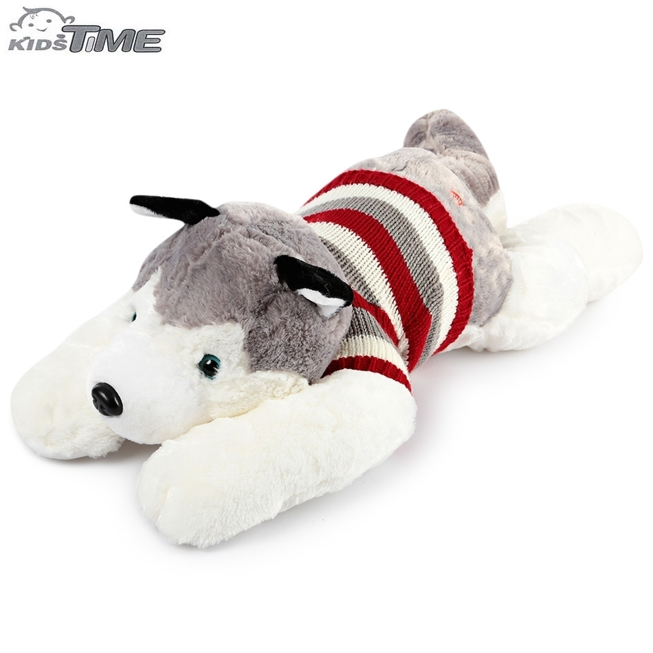 65x35cm Lovely High-quality Soft PP Cotton Stuffed Plush Toy Stripe Sweater Huskie Dog Doll Birthday Christmas Gift stuffed animal 44 cm plush standing cow toy simulation dairy cattle doll great gift w501