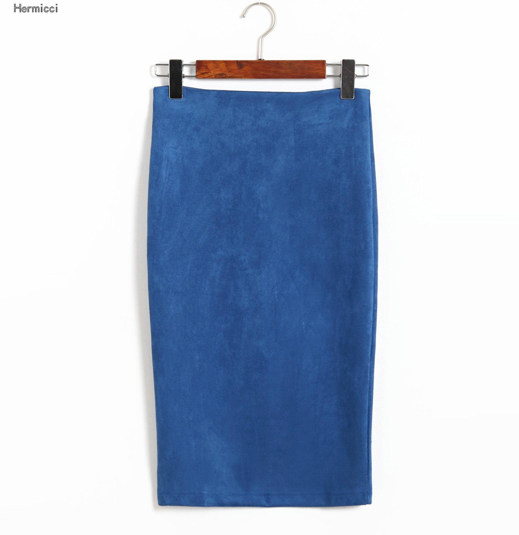 Hermicci 2017 Womens Vintage High Waist Solid Color Suede Winter Midi Skirt Back Split New Autumn Winter Stretchy Pencil Skirts