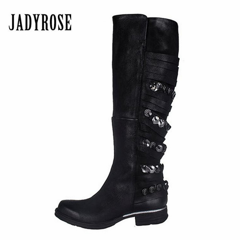 Jady Rose Metal Decor Women Knee High Boots Genuine Leather Fringed Martin Boots Flat Rubber Shoes Woman Platform Botas Mujer mabaiwan retro brown ankle boots for women metal decor autumn winter botas mujer genuine leather platform rubber shoes woman