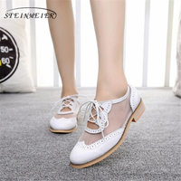 Genuine cow leather sandals casual designer vintage lady flat shoes handmade oxford shoes for women white black blue 2019 spring