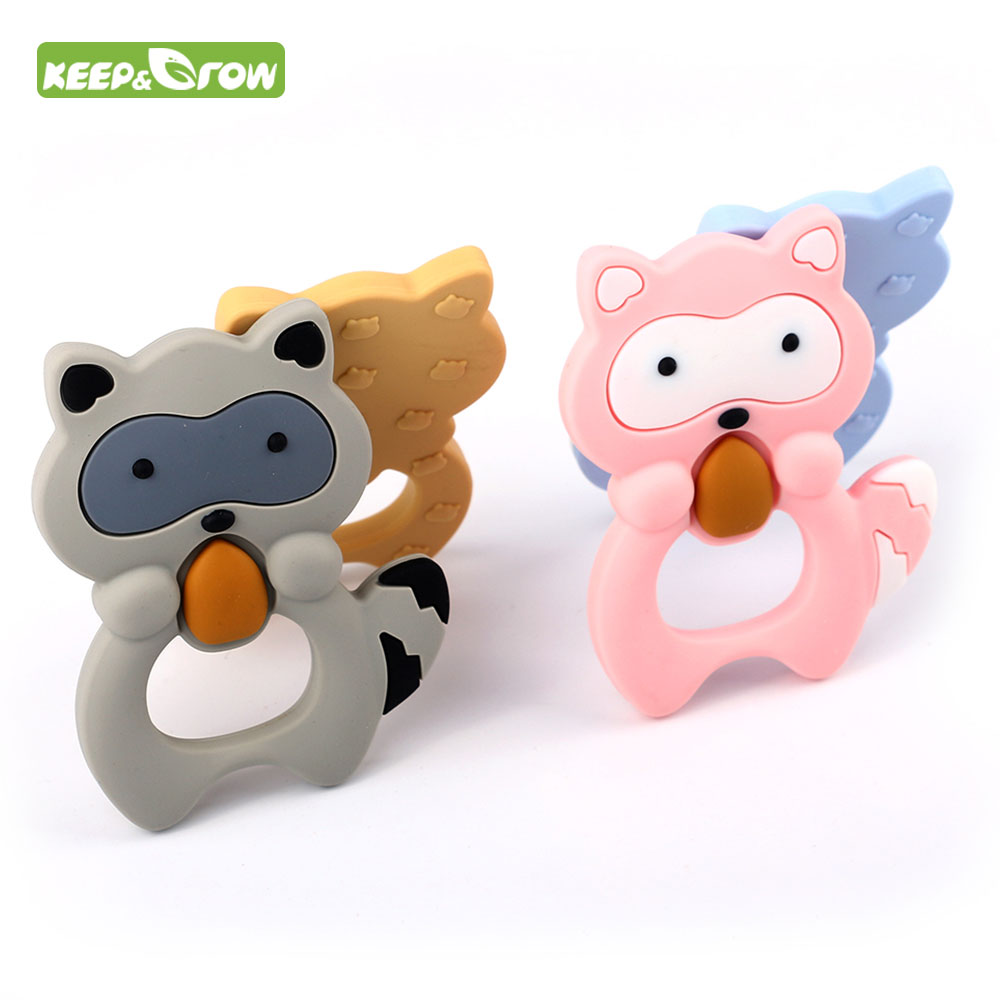 Food Grade Raccoon Teether Animal Silicone Mordedor BPA Free Baby Gift Infant Teething Oral Care Nurse Toys Baby Products 4Color