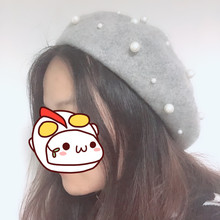 9 Colors Pearl Beaded  Beret Ladies Knit Hat Winter Autumn Cotton Wool Warm Flat Cap Bead Bone Fashion Female Woman Soft caps