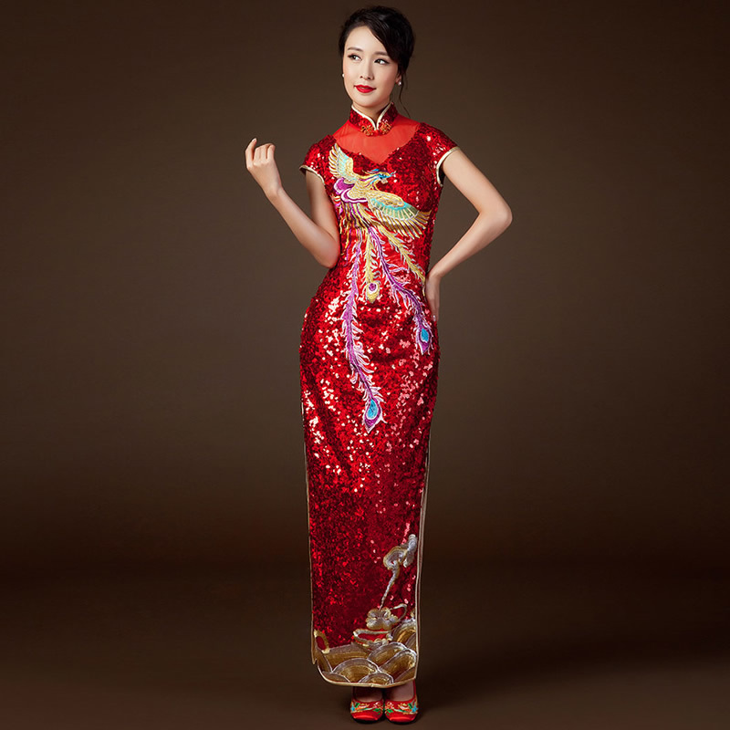 china qipao show Store Red Sequins Embroidered Cheongsam traditional Chinese Dress Qipao Modern Vestido Oriental Robe Chinoise Bride Wedding long
