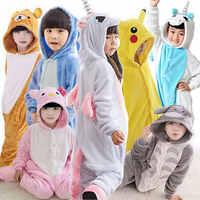 Flanella Kigurumi Bambini Pigiama Set di Inverno Con Cappuccio Animale Unicorno Pikachu Stitch Bambini Pigiami Per Le Ragazze Dei Ragazzi Degli Indumenti Da Notte Tute monopezzo
