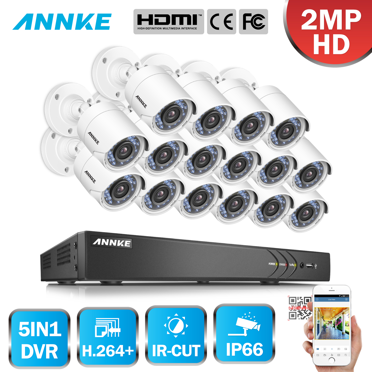 ANNKE 1080P Security Surveillance System 5in1 16CH HD 3MP DVR 16pcs 2MP HD Smart IR Day Night Vision Weatherproof CCTV Camera 2mp ip camera 1080p hd cctv outdoors ir weatherproof day