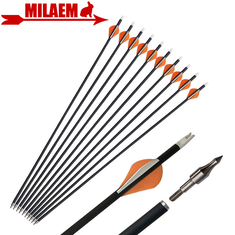 6/12pcs Archery Pure Carbon Arrow Spine 400 ID6.2mm Replace Arrowhead Rubber Feather Compound Recurve Hunting Accessories-in Bow & Arrow from Sports & Entertainment