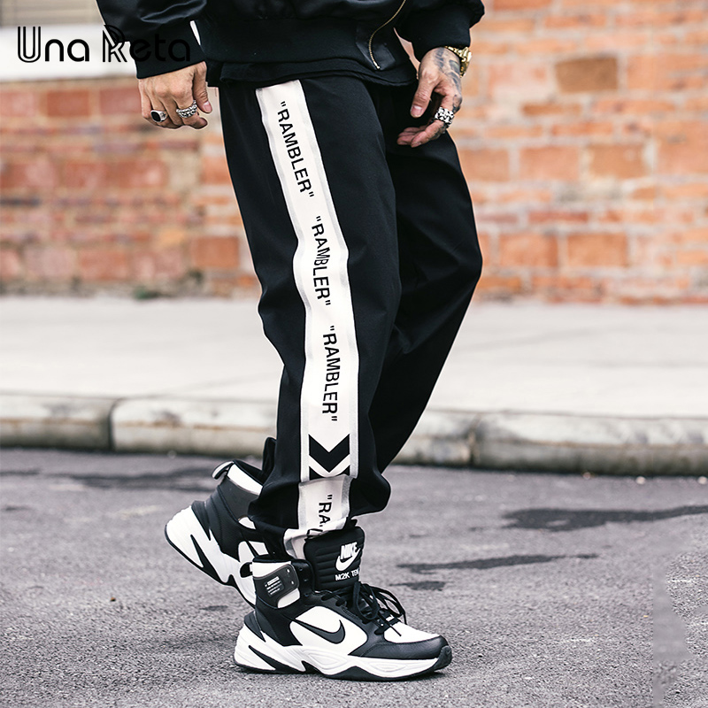 Una Reta Mens Pants New Print Letter Hip Hop Trousers Joggers Men Streetwear Elastic Waist High Fashion Men's Sweatpants
