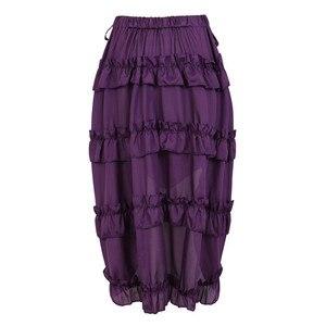 Image 4 - Falda Steampunk Vintage para mujer, falda gótica con volantes, falda pirata de talla grande, disfraz de pirata, varios colores, trajes de baile Alto y Bajo