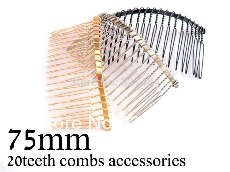 Black Gold plated Dull silver nickel 150piece 75mm metal wire combs hair comb findings for hair